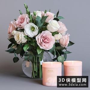 現代裝飾花燭臺模型組合國外3D模型【ID:929318814】