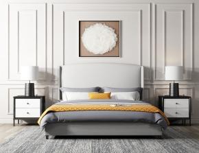 現代雙人床床頭柜臺燈組合3D模型【ID:727807031】