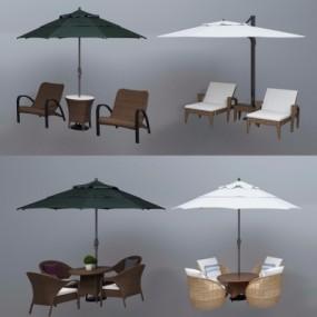 现代户外藤编休闲桌椅组合3D模型【ID:328437330】