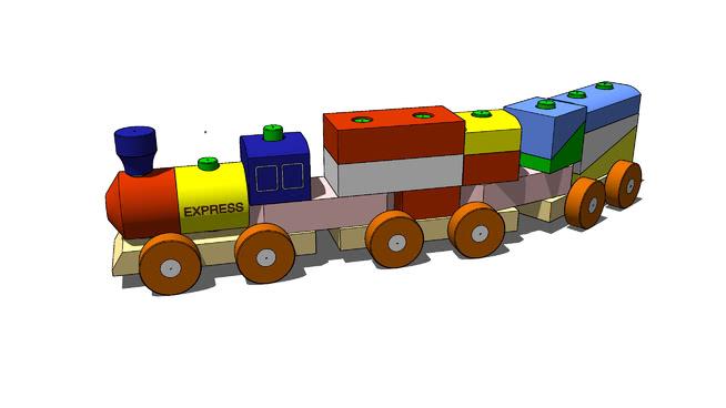 木制玩具火车SU模型【ID:640150706】