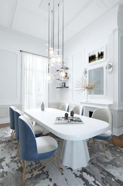后现代奢华餐桌椅组合3D模型【ID:327894494】