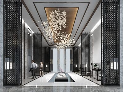 新中式酒店走廊電梯廳3D模型【ID:428270814】