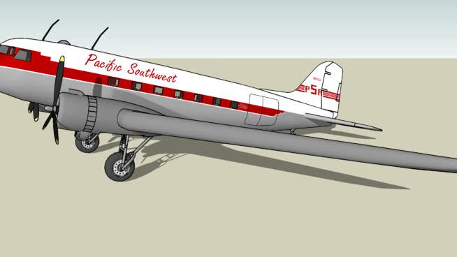太平洋西南航空公司(PSA)道格拉斯C-47SU模型【ID:740151225】