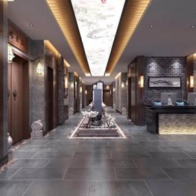 新中式茶楼走廊3D模型【ID:428025115】