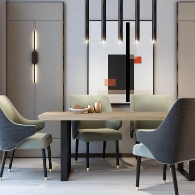 后现代餐桌椅吊灯组合3D模型