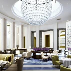 现代酒店餐厅沙发桌椅组合3D模型【ID:427937423】