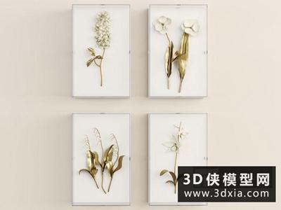 現代裝飾畫國外3D模型【ID:929519883】