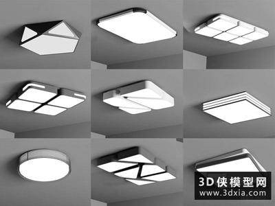 现代吸顶灯国外3D模型【ID:829342793】