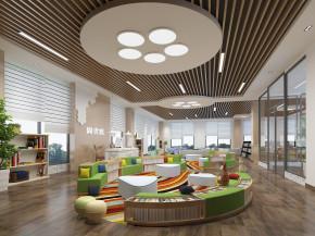 现代幼儿园图书阅览室3D模型【ID:927826543】