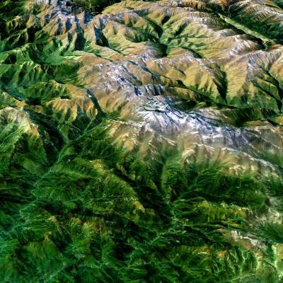 現代鳥瞰秦嶺雪山山脈3D模型【ID:127772431】