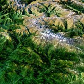 现代鸟瞰秦岭雪山山脉3D模型【ID:127772431】