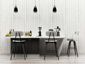 北歐吧臺吧椅吊燈擺件組合3D模型【ID:627804361】
