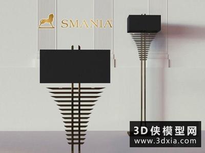 現代新古典金屬落地燈國外3D模型【ID:929694042】