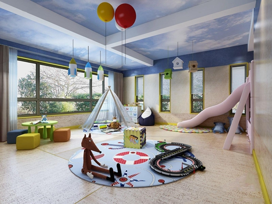 现代儿童游玩区3D模型【ID:728184080】