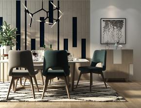 现代餐桌椅边柜吊灯摆件组合3D模型【ID:327785480】
