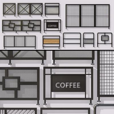 工業風鐵藝欄桿水管護欄3D模型【ID:828473596】