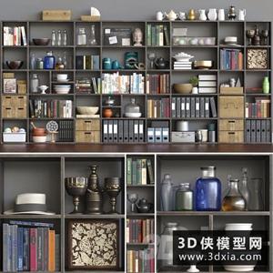书柜装饰品组合国外3D模型【ID:929327820】