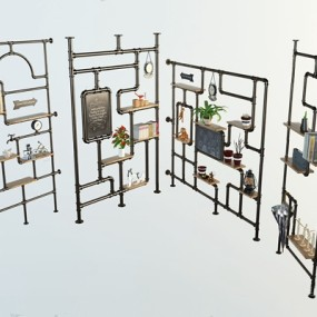 工业风铁艺水管屏风隔断3D模型【ID:828142496】