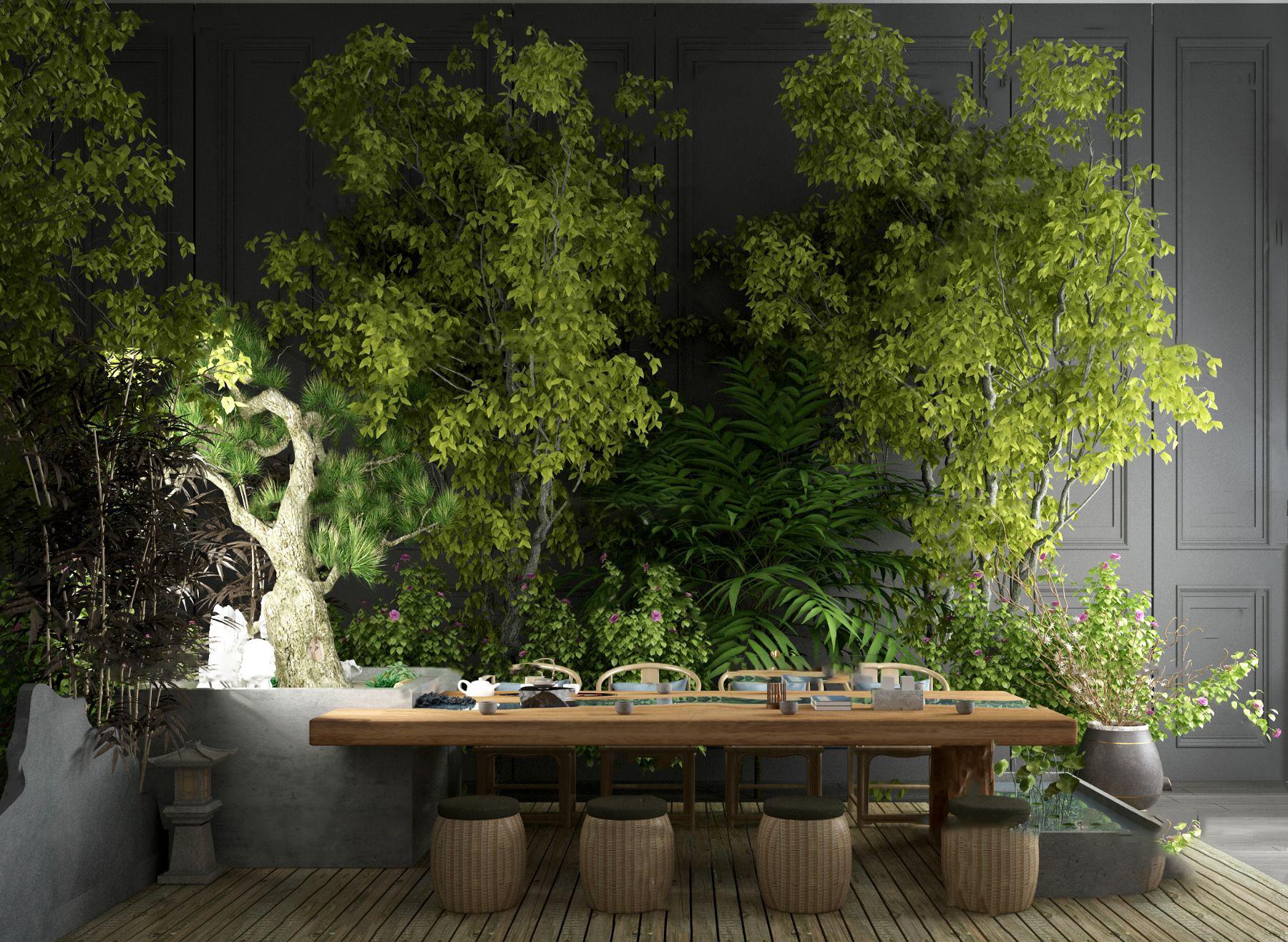 中式茶桌椅绿植景观小品3D模型【ID:243427418】
