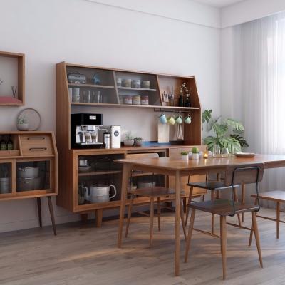 北歐實木餐桌椅餐邊柜組合3D模型【ID:327794439】