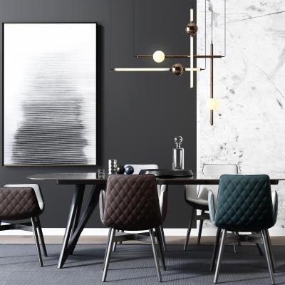 現代餐桌椅吊燈裝飾畫擺件3D模型【ID:327793477】
