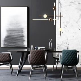 现代餐桌椅吊灯装饰画摆件3D模型【ID:327793477】
