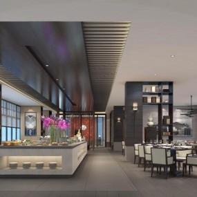 新中式酒店自助餐厅3D模型【ID:828146501】