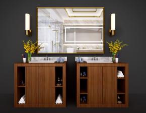 新中式洗手台盆镜子壁灯摆件组合3D模型【ID:727807786】