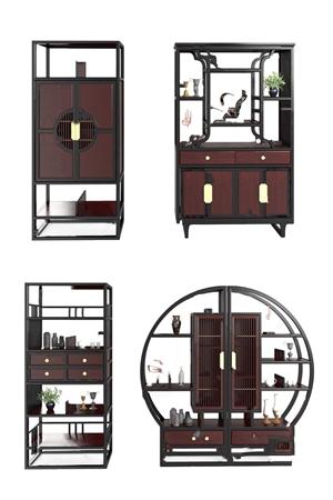 新中式书柜组合3D模型【ID:141359555】