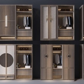 新中式衣柜3D模型【ID:928348991】
