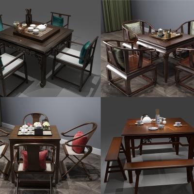新中式泡�茶桌椅�[件�M合3D模型【ID:327790675】