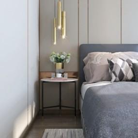 现代双人床床头柜组合3D模型【ID:732400491】