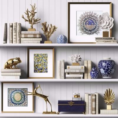 現代書籍青花瓷花瓶雕塑珊瑚擺件組合3D模型【ID:927837178】