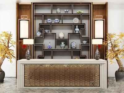 新中式雕花吧台3D模型【ID:631947393】