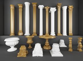 歐式石膏鍍金羅馬柱雕花盆3D模型【ID:627804964】