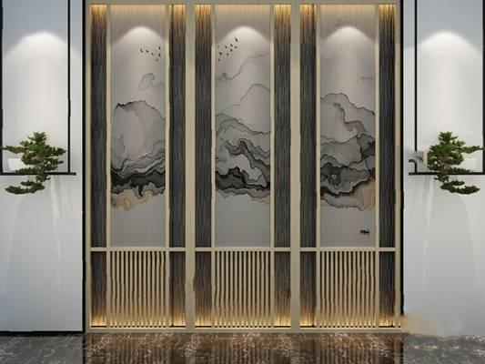 中式背景墙3D模型【ID:324883523】