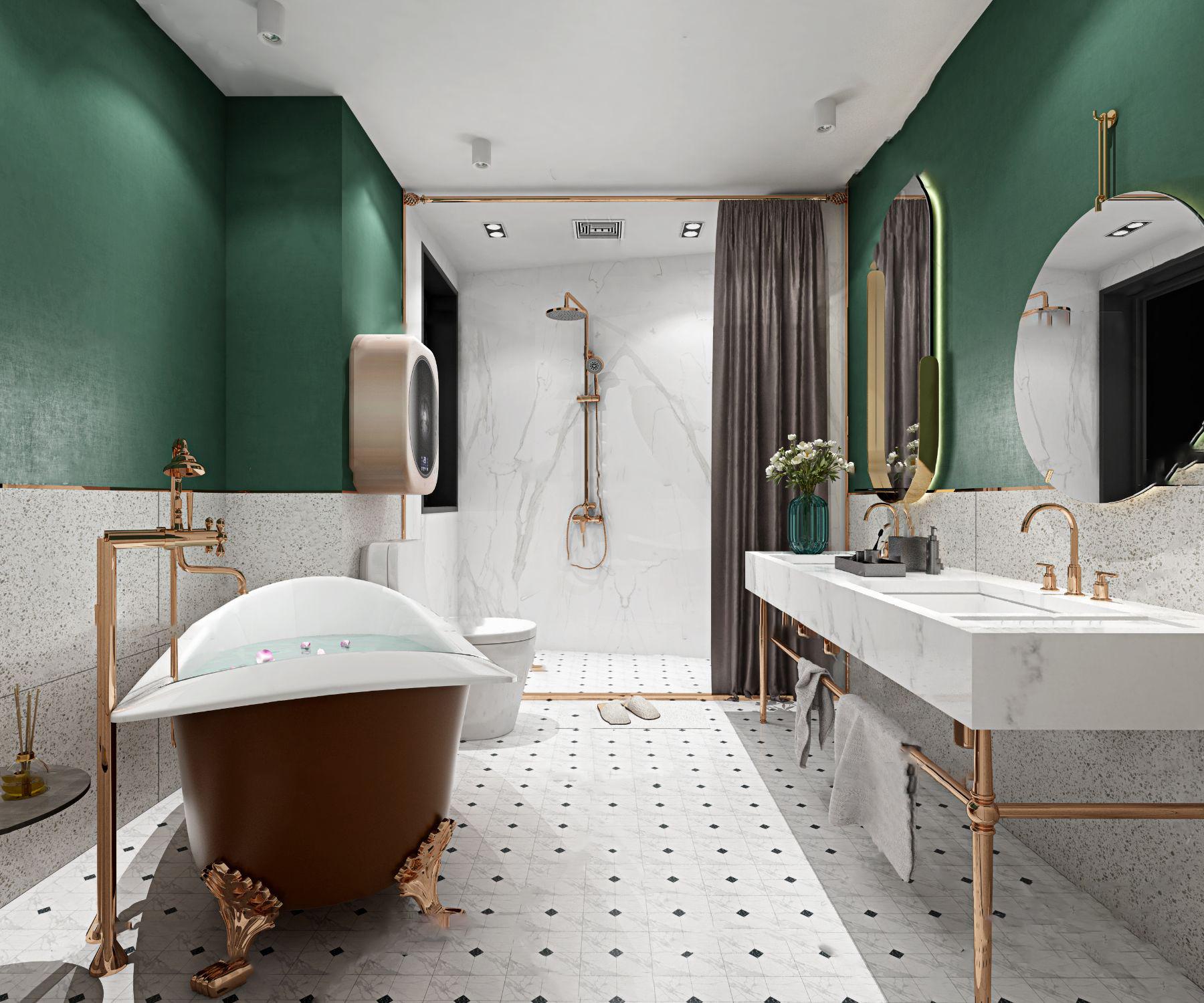 北欧轻奢卫生间浴室3D模型【ID:543274542】
