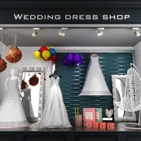 现代精品婚纱橱窗饰品汽球吊椅镜子组合3D模型【ID:427937193】