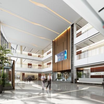 现代办公楼大堂3D模型【ID:728471721】