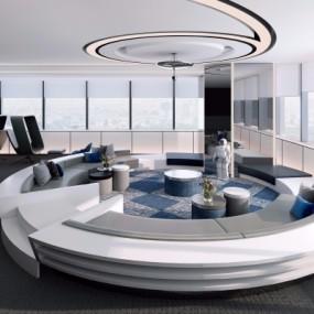 现代办公休息区3D模型【ID:827815135】