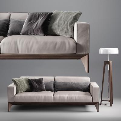 现代实木布艺双人沙发3D模型【ID:928560746】