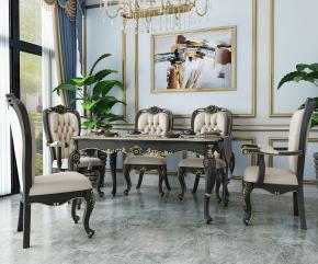 歐式餐桌椅餐具吊燈組合3D模型【ID:327784417】