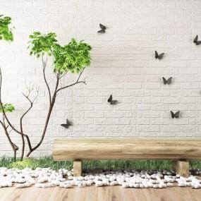 园艺植物木头长凳景观组合3D模型【ID:328245805】