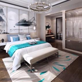 新中式卧室主人房3d模型【ID:128414342】