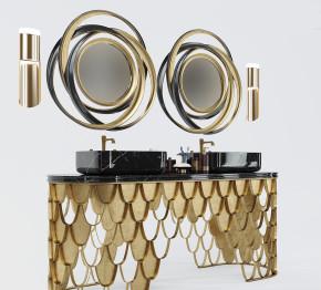 现代金属台盆洗手台镜子壁灯组合3D模型【ID:727807719】