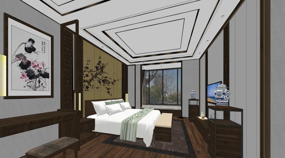 新中式主卧室书房卫生间室内设计SU模型【ID:936740881】