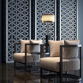 新中式单人沙发组合3D模型【ID:928171674】