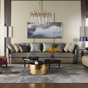 现代皮革沙发组合3D模型【ID:128414064】