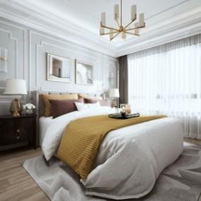 美式卧室 3D模型【ID:541546266】