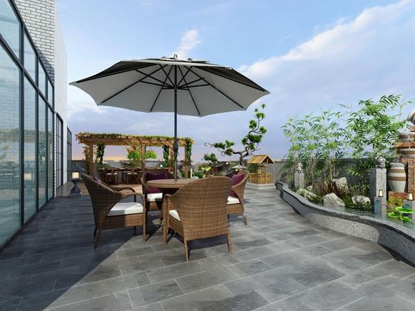 新中式庭院花园3D模型【ID:547180693】